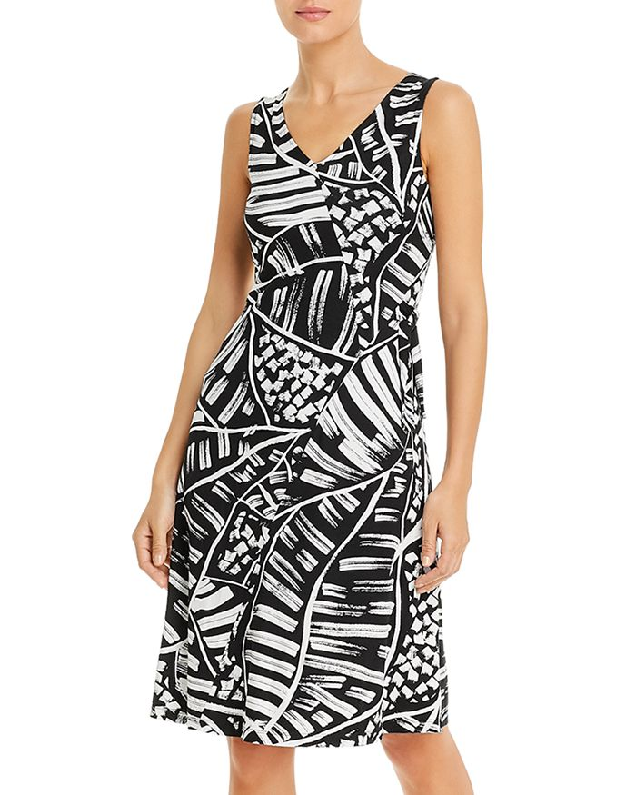 Nic And Zoe Nic+zoe Moonlit Palm Fit-and-flare Dress In Black Multi