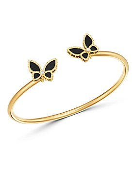 Roberto Coin - 18K Yellow Gold Onyx & Diamond Butterfly Bangle Bracelet - 100% Exclusive