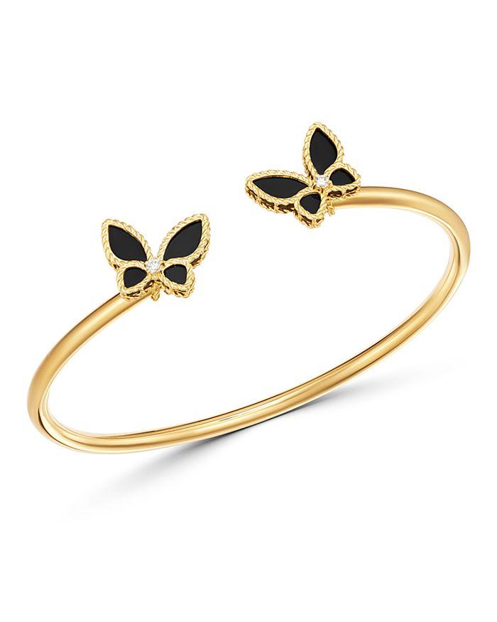 Roberto Coin - 18K Yellow Gold Onyx & Diamond Butterfly Bangle Bracelet - 100% Exclusive