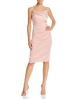 Laundry by Shelli Segal - Ruched Satin Sheath Dress