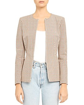 Theory - Check Print Stretch Cotton Sculpture Blazer