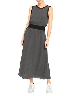 Theory - Silk Printed Ribbed-Trim Dress