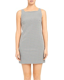Theory - Check Print Square Neck Dress