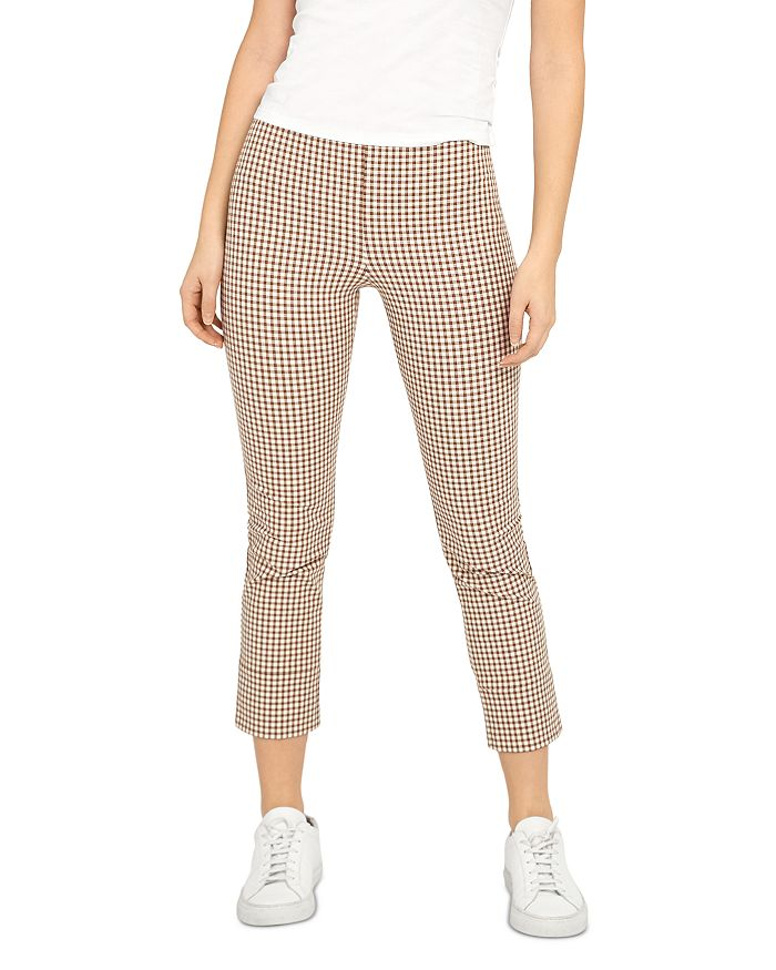 Theory - Check Print Stretch Cotton Cropped Skinny Pants