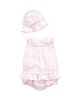 Ralph Lauren - Girls' Gingham Check Ruffle-Trimmed Top, Bloomers & Hat Set - Baby