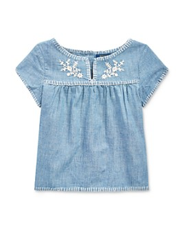 Ralph Lauren - Girls' Cotton Embroidered Chambray Top - Little Kid