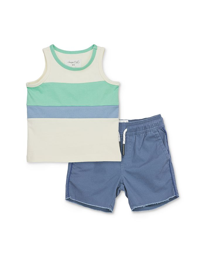 Sovereign Code - Boys' Enoch Color-Blocked Stripe Tank Top & Julius Piped Shorts Set- Baby