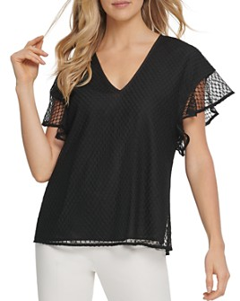 DKNY - Short-Sleeve V-Neck Top