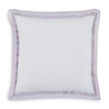 "Charisma - Medici Embroidered Border Decorative Pillow, 16"" x 16"""