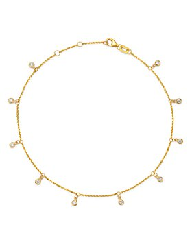 Bloomingdale's - Diamond Bezel Droplet Ankle Bracelet in 14K Yellow Gold, 0.25 ct. t.w. - 100% Exclusive