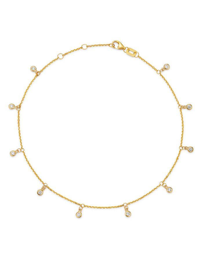 Bloomingdale's Diamond Bezel Droplet Ankle Bracelet in 14K Yellow Gold, 0.25 ct. t.w. - 100% Exclusive  | Bloomingdale's