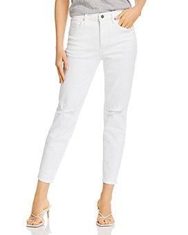 AQUA - Ripped Cropped Skinny Jeans in White - 100% Exclusive