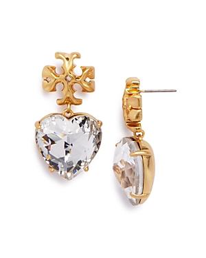 Tory Burch Roxanne Czech Stone Heart Drop Earrings