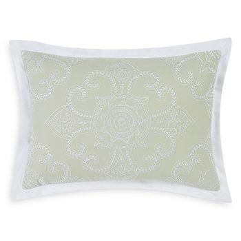 "Charisma - Sage Medallion Embroidered Decorative Pillow, 14"" x 20"""