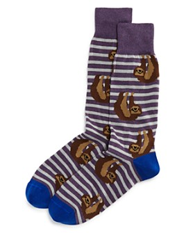 The Men's Store at Bloomingdale's - Cotton-Blend Sloth Stripe Crew Socks - 100% Exclusive