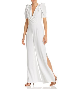 ML Monique Lhuillier - Crossover-Neck Side-Slit Jumpsuit