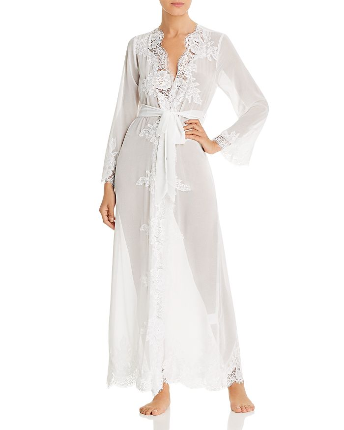 Homebodii Helena Lace & Chiffon Long Robe In White