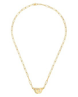 "Dinh Van - 18K Yellow Gold Menottes Diamond Interlocking Link Necklace, 16.5"" - 100% Exclusive"