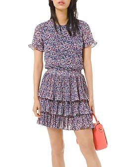 MICHAEL Michael Kors - Floral-Print Pleated Ruffled Dress