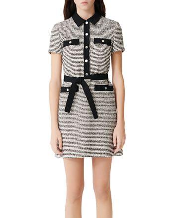 Maje - Renala Belted Tweed Mini Dress