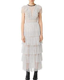 Maje - Riplume Tiered Polka-Dot Midi Dress