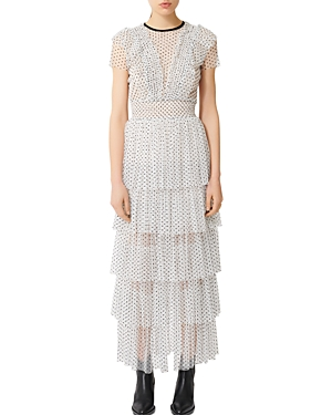 Maje Riplume Tiered Polka-Dot Midi Dress-Women