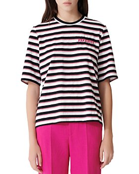 Maje - Tiffany Back-Zip Metallic-Stripe Tee