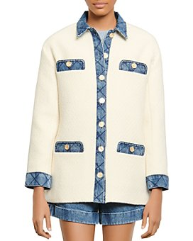 Sandro - Chelby Tweed and Denim Jacket