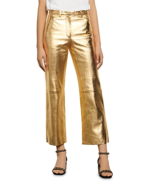 Sandro Orne Metallic Leather Pants-Women