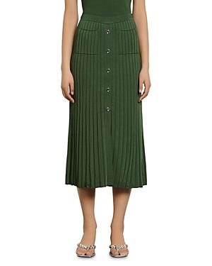 Sandro Meva Rib Knit Midi Skirt