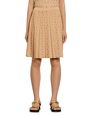 Sandro SABIE PLEATED KNIT SKIRT WITH BEADING