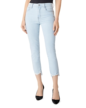 J Brand Ruby High-Rise Cropped Cigarette Jeans in Surf Destruct-Women