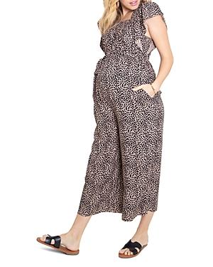 Flutter-Sleeve Maternity Jumpsuit