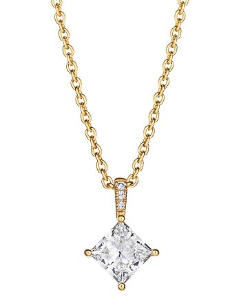 "Lightbox Jewelry - Lab-Grown Pavé Diamond Princess-Cut Pendant Necklace in 18K Gold-Plated Sterling Silver, 1.0 ct. t.w., 16""-18"""