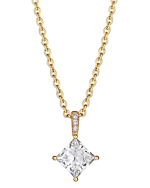 Lab-Grown Pave Diamond Princess-Cut Pendant Necklace in 18K Gold-Plated Sterling Silver