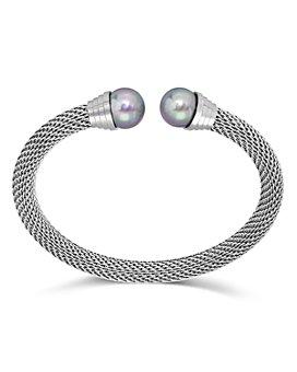 Majorica - Simulated Pearl Chain Mesh Flex Cuff Bracelet