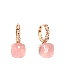 Pomellato - 18K White Gold & 18K Rose Gold Nudo Rose Quartz, Chalcedony and Brown Diamond Dangle Hoop Earrings