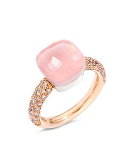 Pomellato - 18K White Gold & 18K Rose Gold Nudo Maxi Rose Quartz, Chalcedony & Brown Diamond Ring