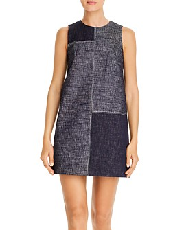 PAULE KA - Colorblocked Denim Shift Dress