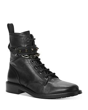 Valentino Garavani Women\\\'s Studded Strap & Chain Combat Boots