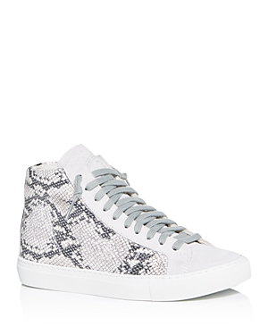 P448 Women's Star2.0 Silver Python-Embossed High-Top Sneakers