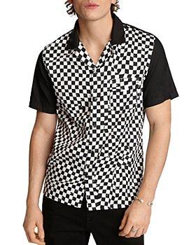 John Varvatos Star USA - Bobby Cotton Abstract Checkerboard-Print Regular Fit Button-Down Bowling Shirt