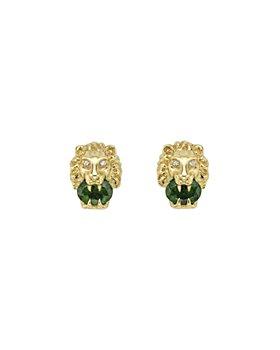 Gucci - 18K Yellow Gold Chromo-Diopside & Diamond Lion Head Stud Earrings