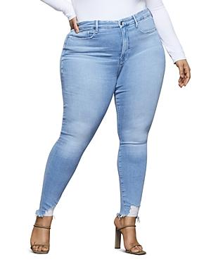 Good American Good Legs Frayed Skinny Jeans in Blue374-Women