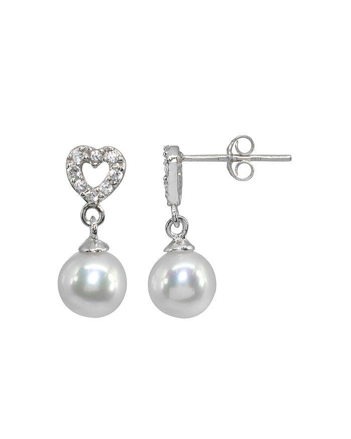AQUA - Pavé Heart & Cultured Freshwater Pearl Drop Earrings - 100% Exclusive