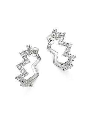 Bloomingdale's Diamond Zigzag Huggie Hoop Earrings in 14K White Gold - 100% Exclusive
