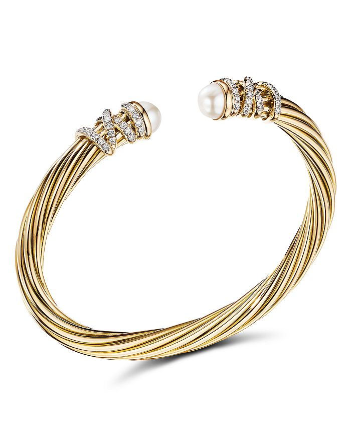 David Yurman - Helena End Station Bracelet in 18K Yellow Gold with Pearls and Diamonds