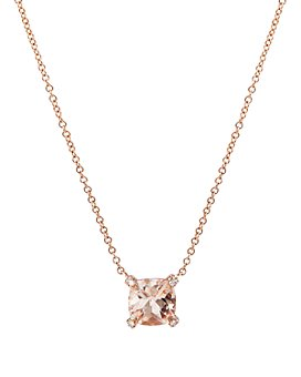 "David Yurman - Châtelaine® Pendant Necklace with Morganite and Diamonds in 18K Rose Gold, 16""-18"""