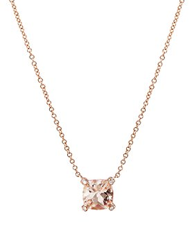"""David Yurman - Châtelaine® Pendant Necklace with Morganite and Diamonds in 18K Rose Gold, 16""""-18"""""""