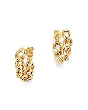 Zoë Chicco - 14K Yellow Gold Heavy Metal Large Cable Link Chain Huggie Hoop Earrings